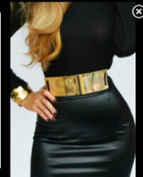 Wholesale fashion embellished metal keeper metallic bling kim gold mirror wide obi elastic belt corset in cm