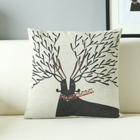 Polyester / Cotton Cotton Square Printed Pillow Cover Sofa Cushion Covers with Linen Fabric Material