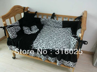 Yes Patchwork Unisex New arrivel!minky skull with black handmade baby 6 pieces bedding set. free shipping