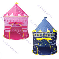 Blue,Pink 7378# Polyester Fibre + Nylon Fabric New Kids Baby Children Portable Tent Lovely house hut Play Kids toy Two Color Blue Pink baby Castle 7378