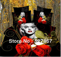40 4 pcs Applique Embroidery Marilyn Monroe Luxury Bedding set Bed Set Comforter bed cover 3D or Quilt Cover Bedclothes Full Queen King Size ,Free Shipping
