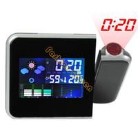 Mechanical 10709# Black New Arrival Digital Multi-function LED Projector Alarm Clock Mini Desktop Weather Station Temperature Humidity 10709 F