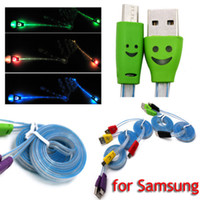 Cheap Colorful LED Visible Micro USB V8 Charger Cable for Samsung Galaxy S4 Data Smile Color Light Up 1M Flat Cords for Note 2 3 S4 S5 I9600