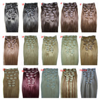 Wholesale Chinese Remy Human Hair Clip in Hair Extension inch g Natural Straight colors Hair accessories