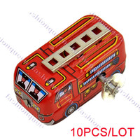 2-4 Years Multicolor Metal 10PCS LOT New Arrival Red 80's Classic Toys Tin Toys Fire Truck Winding-power For Collection 12436