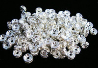 Wholesale 100 Rhinestone Rondelle Spacer Beads mm Silver