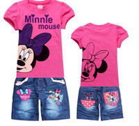 Cheap Hot sale Fashion Children's suit 2014 new girls Clothing Set Kids Minnie Mouse t-shirt+jeans fashion cartoon clothes Sports suit