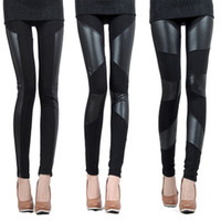 Faux Leather Leggings Knitted FREE 2014 New Sexy Lady Stitching Stretchy Faux Leather Back Leggings Pant Lrs hot sale