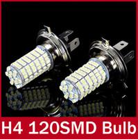 Light Sourcing 12V External Lights 2 x Xenon White Parking H4 LED 12V Light Car LED Fog Daytime Running Light Bulbs Lamp 12V High Power Bright White 120 SMD Truck