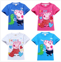 Unisex Summer Standard 2014 New Arrival Boys Short Sleeve Peppa Pig 100% Cotton T-Shirt with Embroidery Children Clothing Boys Baby Free Shipping
