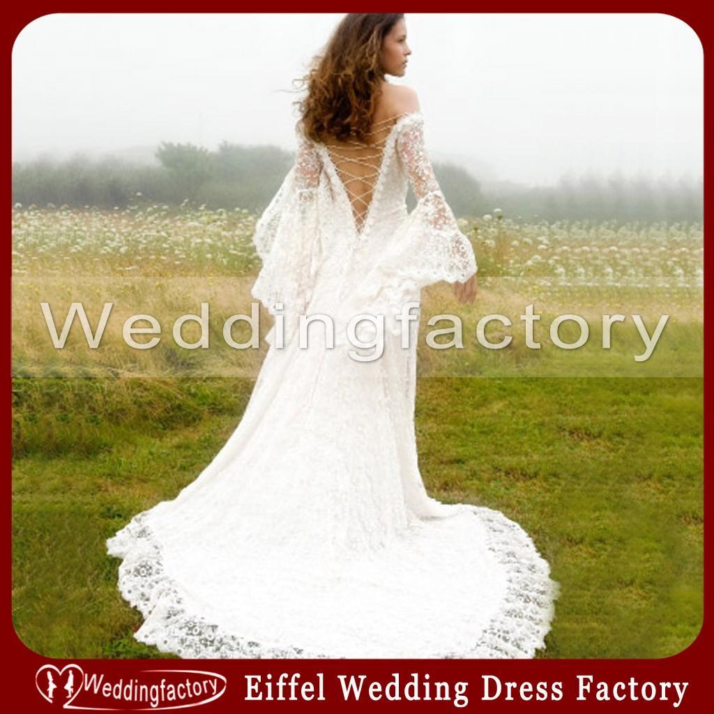Victorian Style Wedding Dresses A Line f Shoulder Satin