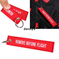 Wholesale Hot Sale Easy Travel Remove Before Flight Key Chain Luggage Tag Zipper Pull Woven Embroidery Keychain Keyring dandys