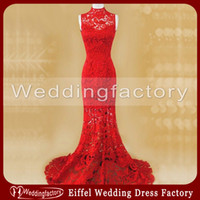 Wholesale Red Lace Cheongsam Chinese Wedding Dress Mermaid High Neck Sleeveless Sheer Floor Length Bridal Gowns
