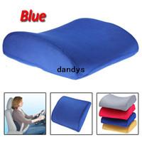 Acheter Oreillers de soutien lombaire-Nouveau bleu mémoire mousse arrière Support coussin oreiller lombaire pour dandys Accueil voiture Auto siège chaise livraison gratuite