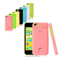 For Apple iPhone Plastic Case 7 colors Fashion Hard Plastic ID Credit Card Holder Case cover for iphone 5c 10pcs lot Free Shipping