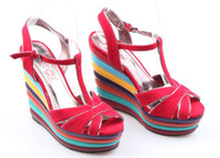 Men Pumps Wedge New arrival 2013 fashion bohemia national trend red sexy wedges multicolour women's plus size shoes sandals