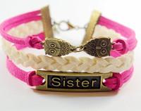 man  woman  gril  boy  best owl - Sister bracelets owl to owl bracelet cute owl bracelet Pink leather bracelet owls bracelet Best gift for sister