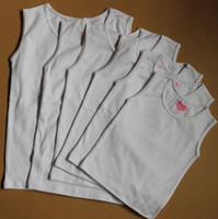 Wholesale baby or kids girls pure cotton white blank sleeveless pettitop T shirt kids Singlet Sleeveless