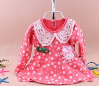 Wholesale Korean Fashion Slim Modal Cotton Girl Children Spring Tommy Bear Pink Rose Lace Dot Bottoming Shirt tz237