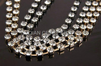 Wholesale Set of premium strands of CZ grade Copper Rhinestone chain silver and gold Plated mixed SS8 SS14 mm mm stone