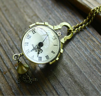 Wholesale Convex mirror Glass ball Rome Retro Pocket Watch Quartz Necklace watch Pendant Chain Clock