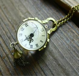 Wholesale Convex mirror Glass ball Rome Retro Pocket Watch Quartz Necklace watch Pendant Chain Clock