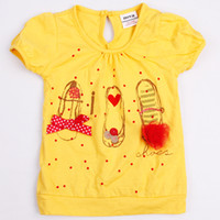 Girl Summer Standard summer 2014 girls t shirt Kids t shirt printing cotton cute shoes & strass printed short sleeve for tee tops yellow nova brand K2712