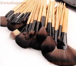 Wholesale 32Pcs set Professional Black Makeup Brush Kit Cosmetic Brushes For Make Up Set Wood