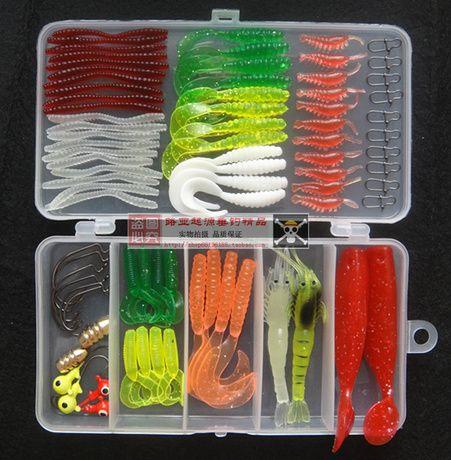 fishing lure kit freshwater worm single double tail grub soft, Soft Baits