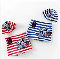 Boy Two-piece 2-8T Boys swimsuits 2014 new kids cartoon pattern stripe Swim trunks Boys Sailors Pirates Swim trunks + hat 2 pcs kids beach wear red blue 7137