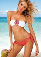 Wholesale New Style Women s Girls Sexy Bikini Set Strapless swimwear Swimsuit Red And White