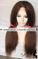 Wholesale DHL UPS free SHE Hair Hot Kinky Straight for African American Black women full lace wigs Indian Remy Hair with natural part baby hair