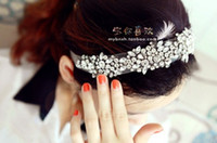 Hair Sticks Lace Solid Korea Fashion Women Hair Accessories Diamond Tulle Hairbands Shinning Crytal Wedding Hair Band Girls White Lace Black Lace 5pcs lot H0372