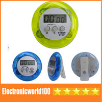 Wholesale Digital LCD Timer stop Watch Clock Alarm Kitchen Cooking Countdown different colors Free DHL