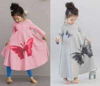 baby ink - baby children girs girl child Ink Wash Butterfly Washing Printing Long Sleeve Wide Hemline Vintage kid Bow Dress Kids Dresses Dressy D1050