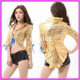 Wholesale fancy Golden Glitter Leather Costumes Nightclubs Jazz Dance dress Drop Ship US4307