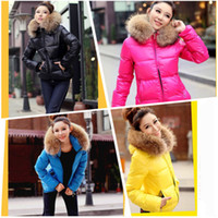 Down Coats fur collar - Fashion Down Coat Woman Women Ladies Winter Color Thick Hoodies Zipper Jacket Fur Collar Parka Outerwear G0292