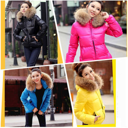 Wholesale Fashion Down Coat Woman Women Ladies Winter Color Thick Hoodies Zipper Jacket Fur Collar Parka Outerwear G0292