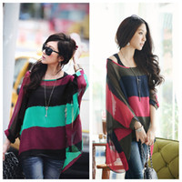 Wholesale 2014 Fashion Ladies Crop Tops Women s Loose Tops Women Colorful Stripe Batwing Sleeve Casual Blouse Tank Tops G0203