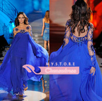 Reference Images Scoop Chiffon 2014 Custom Made Royal Blue Scoop Neckline Long Sleeve Zuhair Murad Formal Evening Dresses With Sequins Crystle Hot Party Prom Dress Gowns