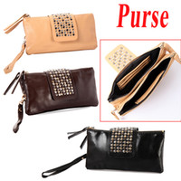 Wholesale New Korean Style Women Lady s PU Faux Leather Rivet Clutch Purse Wallet Evening Bag H9209