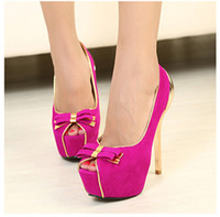 Wholesale 2014 Women Pumps Twin Bow Golden Stiletto High Heels Heeled Peep Toe Platform Pump Bow Sole Party Shoes Summer SW003
