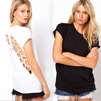 Wholesale New fashion t shirt for women laser backless angel wings women s White Black ladies shorts Crop tops amp tees t shirt autumn summer G0407