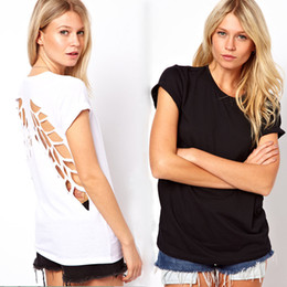 Wholesale New fashion t shirt for women laser backless angel wings women s White Black ladies shorts Crop tops tees t shirt autumn summer G0407