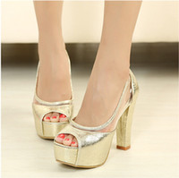 Wholesale Designer Fashion women high square heel platform pump shoes women pumps summer golden silver SW024