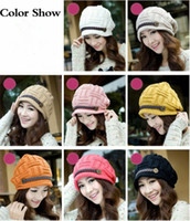 Wholesale Fashion Headwear Women Warm Rageared Baggy Winter Beanie Chunky Knit Crochet Ski Hat Cap H3132