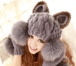 Wholesale New Arrival Cat Ear Hat Women Fashion Acrylic Mixed Wool Winter Cap Skullies Beanies with Faux Fur Ball H3122
