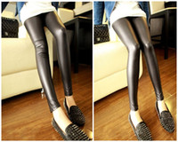 Leggings Skinny,Slim Long New 2014 Women's PU Leather Skinny Stretch Leggings Material Fashion Patchwork Casual Pants Women G0360B