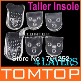 Wholesale Adjustable Unisex Massage Transparent Silicone Gel High Taller Insoles Shoes Pads H1473