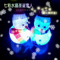 Wholesale Hat scarf crystal colorful small led night light snowman Christmas toys